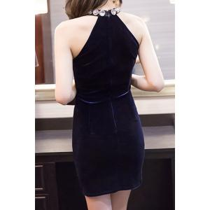 Stylish Halter Neck High Waist Solid Color Bodycon Dress For Women -