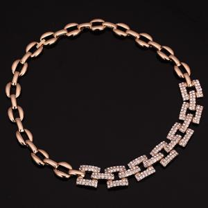 A Suit of Stylish Rhinestone Hollow Out Square Necklace Bracelet Ring and Earrings For Women -