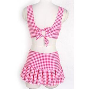 Preppy Style Sweetheart Neck Checked Two Piece Swimsuit For Women -