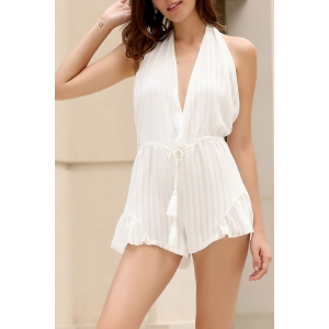 Stylish Halter White Backless Romper - White - Xl