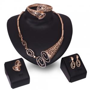A Suit of Stylish Rhinestone Hollow Out Horn Necklace Bracelet Ring and Earrings For Women