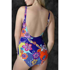 Graceful Plunging Neck Gingham Floral Print One-Piece Backless Swimwear For Women -