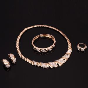 A Suit of Rhinestone Cable Knit Jewelry Set - GOLDEN