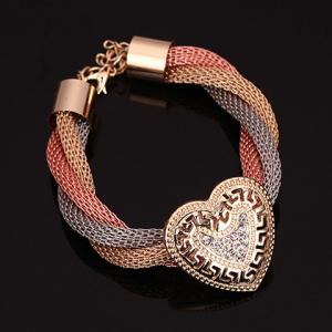 A Suit of Stylish Rhinestone Hollow Out Hearts Necklace Bracelet Ring and Earrings For Women -