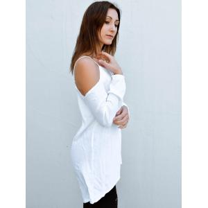 Stylish Spaghetti Strap Solid Color Long Sleeve Dress For Women -