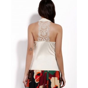 Brief Sweetheart Neck Lace Spliced Tank Top For Women -