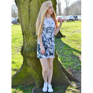 Novelty Round Neck Gray Floral Printed Sleeveless Dress For Women -