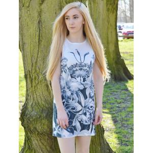 Novelty Round Neck Gray Floral Printed Sleeveless Dress For Women - WHITE S