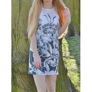 Novelty Round Neck Gray Floral Printed Sleeveless Dress For Women - White - Xl