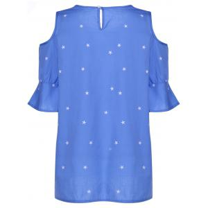 Sweet Round Collar Short Sleeve Star Print Cold Shoulder Plus Size T-Shirt For Women - ICE BLUE 2XL