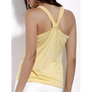 Brief Scoop Neck Candy Color Tank Top For Women