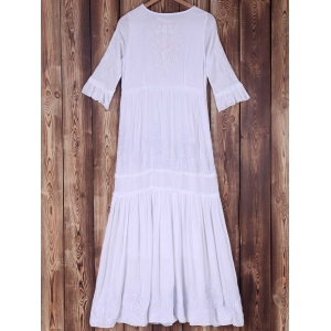 Trendy Round Collar 3/4 Sleeve Embroidered Solid Color Women's Dress -