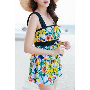 Layered Floral One-Piece Swimsuit with Ruffles - YELLOW 2XL