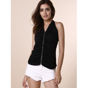 Stylish Halter Black Zippered Tank Top For Women -