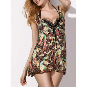 Stylish Push Up Ruffled Bikini and Print Dress Three-Piece Swimwear For Women