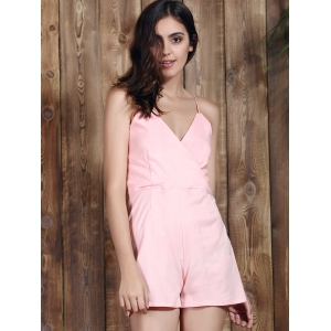 Stylish Plunging Neckline Backless Pink Romper For Women -