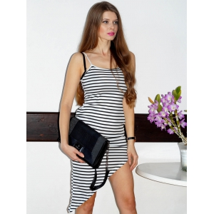 Stylish Spaghetti Strap Striped Asymmetrical Women's Dress - WHITE S