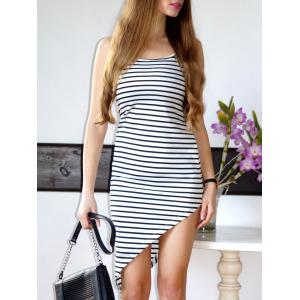 Stylish Spaghetti Strap Striped Asymmetrical Women's Dress - White - S