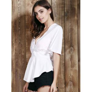 Sexy Plunging Neck Short Sleeve Flounce Asymmetrical White Blouse For Women - WHITE L