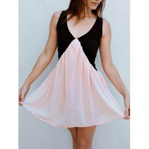 Color Block Sleeveless Short Skater Dress