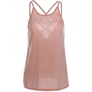 Stylish Scoop Neck Criss-Cross Straps Tank Top For Women - PINK S