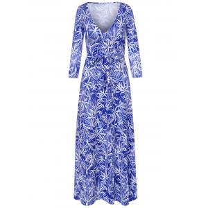 Long Sleeve Plunging Neck Leaf Print Dress