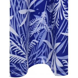 Plunging Neck Leaf Print Dress - SAPPHIRE BLUE S