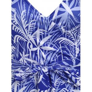 Plunging Neck Leaf Print Dress - SAPPHIRE BLUE L