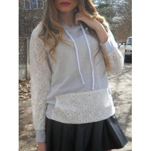 Sweet Hooded Long Sleeve Lace Spliced Women's Pullover Hoodie - Grey And White - S