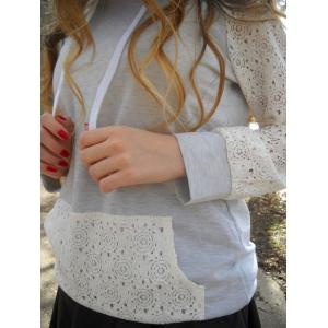 Sweet Hooded Long Sleeve Lace Spliced Women's Pullover Hoodie - GREY AND WHITE S