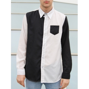 Color Block Pocket Button Down Casual Shirt