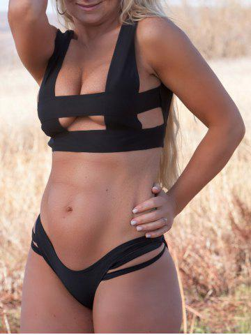 Outfits Sexy Square Neck Solid Color  Bikini Set For Women BLACK L