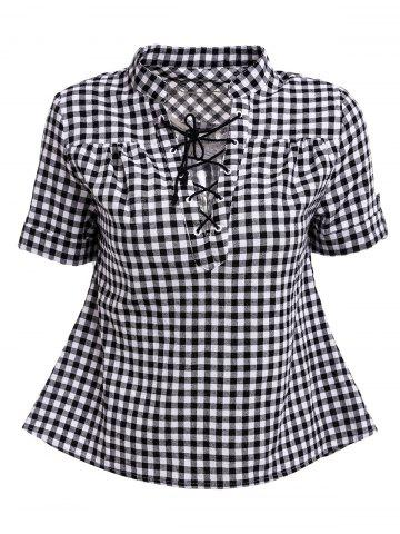 Fashion Stylish V-Neck Short Sleeve Lace-Up Plaid Blouse For Women BLACK S