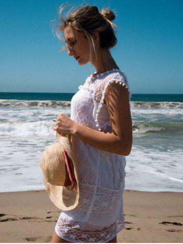 Discount Scoop Collar Sleeveless See-Through Crochet Tunic - S WHITE Mobile