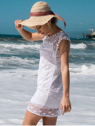 Outfits Scoop Collar Sleeveless See-Through Crochet Tunic - S WHITE Mobile