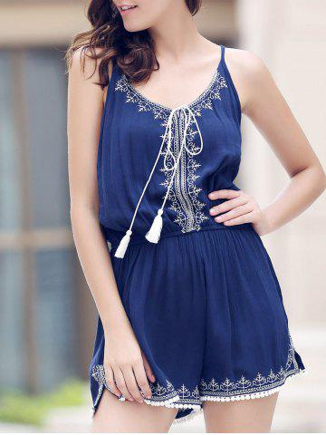 Fashion Casual Spaghetti Strap Sleeveless Embroidery Elastic Waist Romper For Women PURPLISH BLUE S