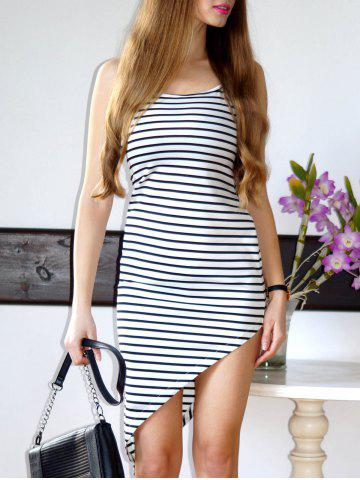 Latest Stylish Spaghetti Strap Striped Asymmetrical Women's Dress