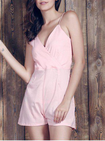 New Stylish Plunging Neckline Backless Pink Romper For Women