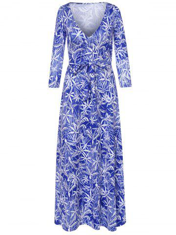 Fashion Long Sleeve Plunging Neck Leaf Print Dress SAPPHIRE BLUE S