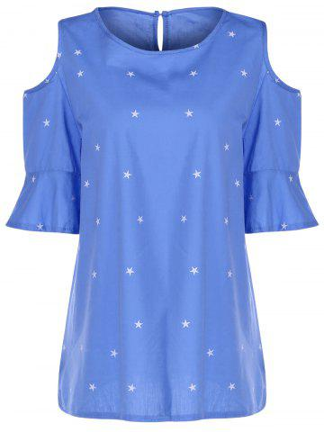 Discount Sweet Round Collar Short Sleeve Star Print Cold Shoulder Plus Size T-Shirt For Women ICE BLUE 2XL