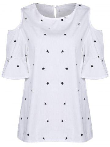 Fashion Sweet Round Collar Short Sleeve Star Print Cold Shoulder Plus Size T-Shirt For Women WHITE XL