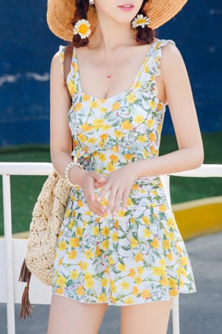 Shop Floral Print Flounced One-Piece Dress Swimwear For Women YELLOW XL