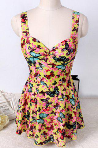 Outfits Cute Butterfly Printed Cut Out One-Piece Swimwear For Women