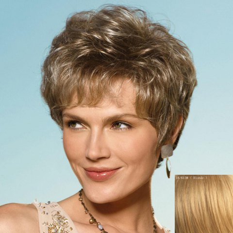 Sale Shaggy Short Curly Fashion Side Bang Capless Real Human Hair Wig For Women