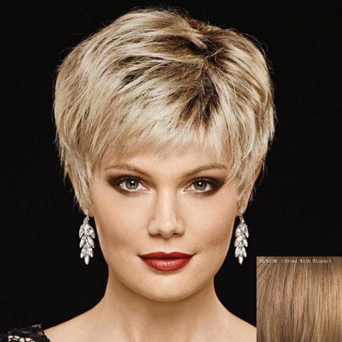 Buy Attractive Multi-Colored Short Capless Fluffy Natural Straight Capless Human Hair Wig For Women