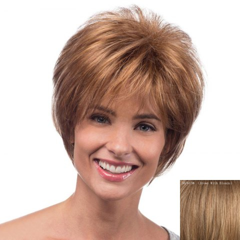 Outfit Bouffant Natural Wave Side Bang Spiffy Short Capless Real Natural Hair Wig For Women