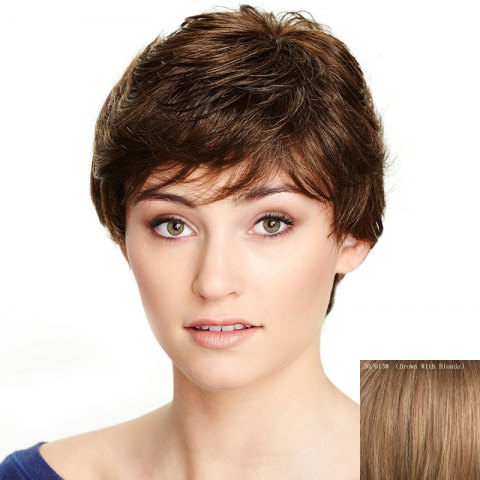 Fancy Human Hair Trendy Side Bang Capless Fluffy Natural Wave Wig