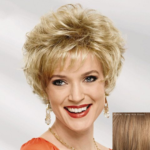 Unique Shaggy Curly Capless Stylish Short Side Bang Real Human Hair Wig For Women
