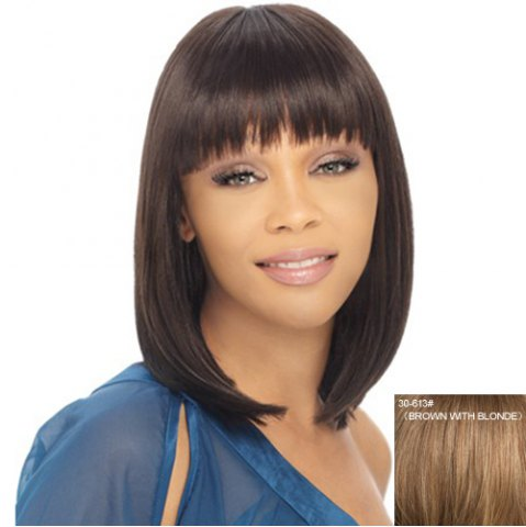 Sale Ladylike Full Bang Capless Bob Style Straight Medium Human Hair Wig For Women