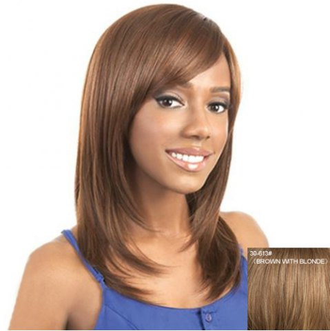 Online Trendy Medium Layered Capless Graceful Side Bang Straight Real Human Hair Wig For Women